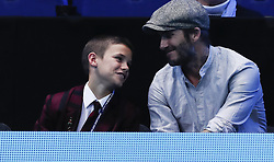 LONDON, Nov. 17, 2016  David Beckham (R) and his son Romeo Beckham watch a match at the 2016 ATP World Tour Final at the O2 in London, Britain on Nov. 17, 2016. (Credit Image: © Han Yan/Xinhua via ZUMA Wire)