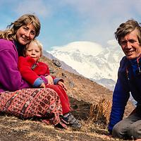 Meredith, Ben & Gordon Wiltsie in front of Mt. Everest in the Khumbu region of Nepal 1986.