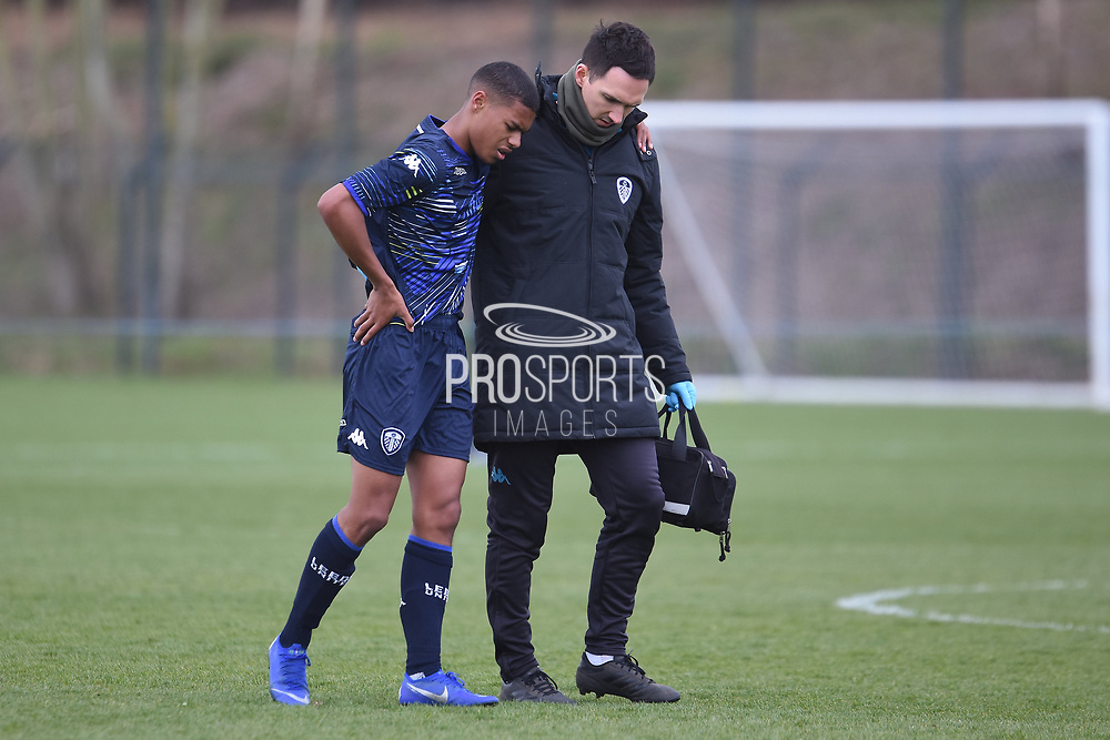 Leeds United defender Mason Rubie off injured during the U18 Professional Development League match between Coventry City and Leeds United at Alan Higgins Centre, Coventry, United Kingdom on 13 April 2019.