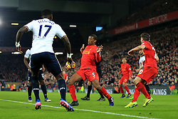 11th February 2017 - Premier League - Liverpool v Tottenham Hotspur - The ball hits Georginio Wijnaldum of Liverpool during an attempted clearance - Photo: Simon Stacpoole / Offside.