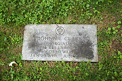 26 August 2017:   A part of the History of McLean County Illinois.<br /> <br /> Tombstones in Evergreen Memorial Cemetery.  Civic leaders, soldiers, and other prominent people are featured.<br /> <br /> Section 16 - Veterans Section<br /> Johnnie Clark<br /> Virginia<br /> Private 446 Res Labor BN QMC<br /> Jan 29, 1897  July 5, 1960