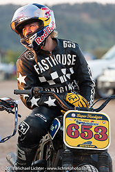 Robbie Madison in the Spirit of Sturgis antique motorcycle flat track race at the historic Sturgis Half Mile during the 78th annual Sturgis Motorcycle Rally. Sturgis, SD. USA. Monday August 6, 2018. Photography ©2018 Michael Lichter.