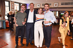 Left to right, Hugo Turner, Daisy Knatchbull, the Hon.Harry Herbert and Ross Turner at The Tribe Syndicate launch party hosted by Highclere Thoroughbred Racing at Beaufort House, 354 King's Rd, London England. 25 April 2018.