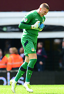 Sam Johnstone , goalkeeper of Aston Villa celebrates after team mate Gabriel Agbonlahor scores a goal and makes it 1-0 . EFL Skybet championship match, Aston Villa v Birmingham city at Villa Park in Birmingham, The Midlands on Sunday 23rd April 2017.<br /> pic by Bradley Collyer, Andrew Orchard sports photography.