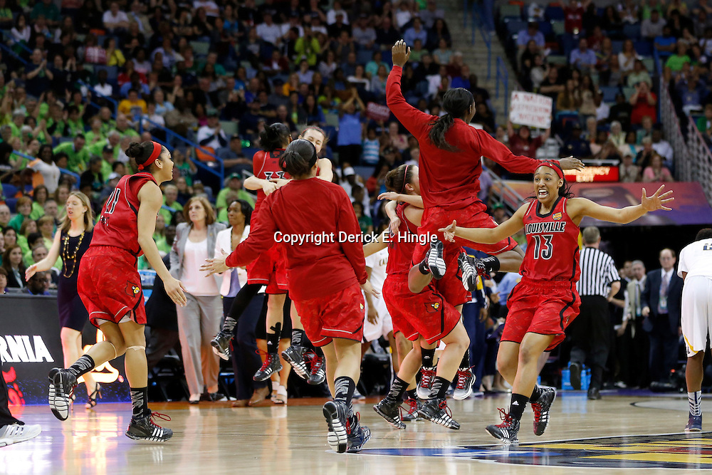 April 7, 2013; New Orleans, LA, USA; Louisville Cardinals celebrates after the semifinals during the 2013 NCAA womens Final Four against the California Golden Bears at the New Orleans Arena. Louisville defeated California 64-57. Mandatory Credit: Derick E. Hingle-USA TODAY Sports