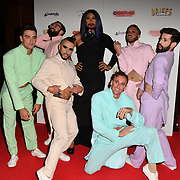 The cast attends Briefs: Close Encounters - press night an All-male 'Boylesque' group show off their circus skills, drag acts and raucous comedy routines at The Spiegeltent Leicester Square on 14 November 2018, London, UK.