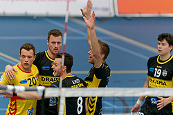 26-10-2019 NED: Talentteam Papendal - Draisma Dynamo, Ede<br /> Round 4 of Eredivisie volleyball - Jeffrey Klok #20 of Dynamo, Jeroen Rauwerink #2 of Dynamo, Nico Manenschijn #6 of Dynamo, Seain Cook #19 of Dynamo