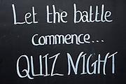 Blackboard sign for a quiz night at a local pub near Hever, England, United Kingdom.