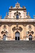 Front elevation of cathedral church Chiesa di San Pietro Apostolo church in ancient city Modica Bassa, Sicily