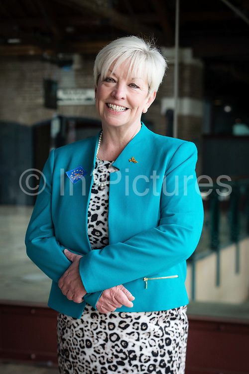Liberal Democrat MEP candidate for the East of England, Barbara Gibson poses for a photograph at the Liberal Democrat party European election campaign launch held at Tobacco Dock, in London, England on April 26, 2019. Liberal Democrat party leader, Vince Cable announced Member of European Parliament MEP candidates for the upcoming European Parliament elections that will take place from 23rd to 26th May 2019.