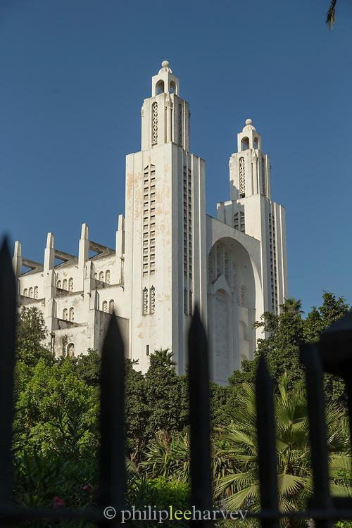 Low angle view of art deco Casablanca Cathedral, Casablanca, Morocco