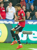 Football - 2017 / 2017 EFL (League) Cup - Fourth Round: Swansea City vs. Manchester United<br /> <br /> Jesse Lingard of Manchester United celebrates scoring his team's 2nd goal, at The Liberty Stadium.<br /> <br /> COLORSPORT/WINSTON BYNORTH