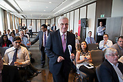 Rt. Hon. John McDonnell MP and Shadow Chancellor of the Exchequer arrives as Former City financier Professor Avinash Persaud launches a new policy paper in London on modernising the UKs existing financial transactions tax i.e. Robin Hood Tax on July 18th 2017 in London, United Kingdom. Speaking on a panel with Labours Shadow Chancellor John McDonnell, who has adopted the papers policy recommendations.
