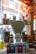 A window display featuring an old fashioned set of kitchen sales at Paul Rothe & Son Delicatessen on the 3rd October 2019 in London in the United Kingdom.