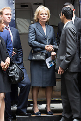 © Licensed to London News Pictures. 23/06/2015. London, UK. ANNA SOUBRY at the launch of the Start-Up Britain campaign routemaster bus in Downing Street, London with Prime Minister, David Cameron. Over five weeks the routemaster bus will visit 30 towns and cities - including Aberdeen, Inverness, Swansea York and Leeds - and aim to engage with 15,000 individuals through workshops and networking events, making them aware of the assistance Start-Up Britain can offer. Photo credit : Vickie Flores/LNP