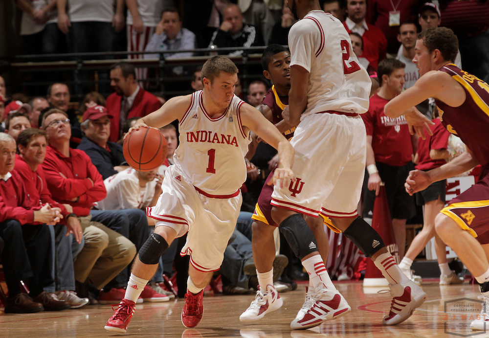 12 January 2012: Indiana Guard Jordan Hulls (1)  as the Indiana Hoosiers played the University of Minnesota Golden Gophers in a college basketball game in Bloomington, Ind.