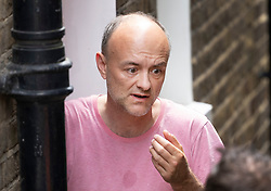 © Licensed to London News Pictures. 17/06/2021. London, UK. Dominic Cummings is seen at a side door to his home in North London. Former chief government advisor Dominic Cummings has released WhatsApp messages showing the Prime Minister criticising Health Secretary Matt Hancock. Photo credit: Peter Macdiarmid/LNP