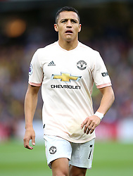 """Manchester United's Alexis Sanchez during the Premier League match at Vicarage Road, Watford PRESS ASSOCIATION Photo. Picture date: Saturday September 15, 2018. See PA story SOCCER Watford. Photo credit should read: Nigel French/PA Wire. RESTRICTIONS: EDITORIAL USE ONLY No use with unauthorised audio, video, data, fixture lists, club/league logos or """"live"""" services. Online in-match use limited to 120 images, no video emulation. No use in betting, games or single club/league/player publications."""