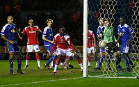 Photo: Steve Bond/Sportsbeat Images.<br /> Leicester City v Charlton Athletic. Coca Cola Championship. 29/12/2007.  The ball drops into the net from Patrick McCarthy (obscured) overhead kick