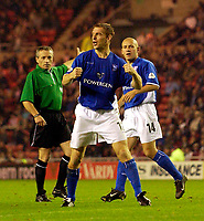 Photo. Jed Wee.<br /> Sunderland v Ipswich Town, Nationwide League Division One, Stadium of Light, Sunderland. 30/09/2003.<br /> Ipswich's Richard Naylor (C) celebrates after heading Ipswich back on level terms as referee S Mathieson indicates the goal.