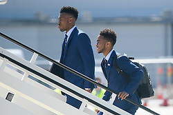 © Licensed to London News Pictures. 06/06/2016. Luton, UK. DANIEL STURRIDGE and RAHEEM STERLING  join other members of England national football squad as they board a plane at Luton airport in Bedfordshire, England, to head for their training camp in France, ahead of the start of the UEFA Euro 2016 championships.  Photo credit: Ben Cawthra/LNP