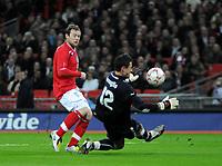 Photo: Tony Oudot/Richard Lane Photography. <br /> England v Switzerland. International Friendly. 06/02/2008.<br /> Wayne Rooney  of England has a shot saved by Diego Benaglio the Swiss goalkeeper