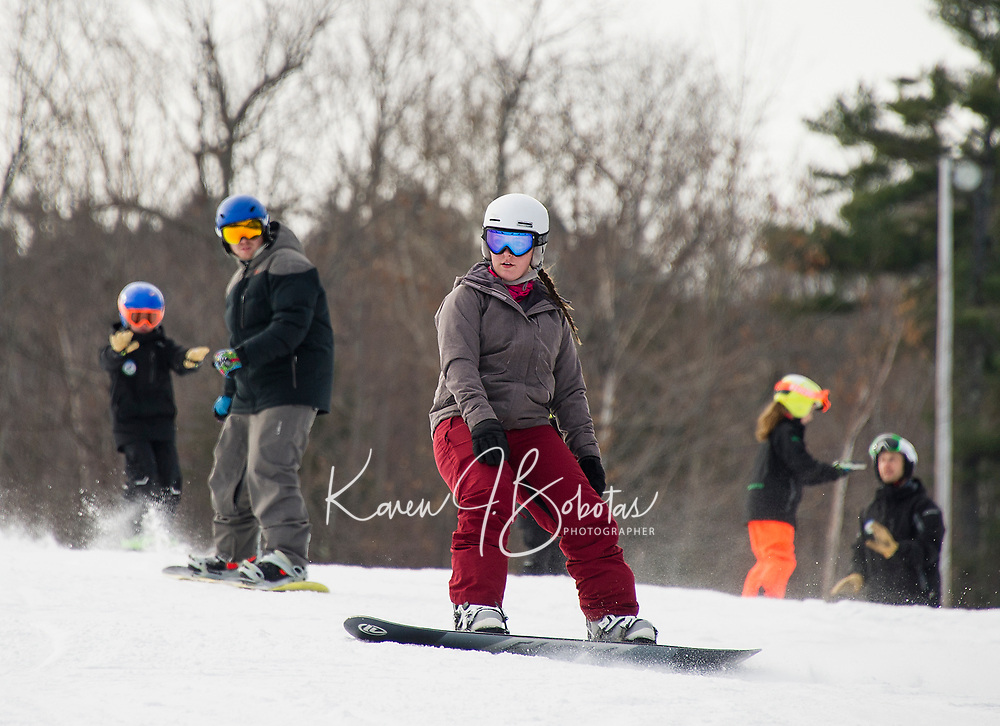 Good early season conditions greeted skiers and riders Sunday morning as they took to the slopes at Gunstock Mountain during opening weekend.  (Karen Bobotas/for the Laconia Daily Sun)