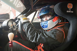 Christie strapped into her Ginetta car..British Touring Car Championship at Knockhill, Sunday 4th September 2011. .© pic Michael Schofield.