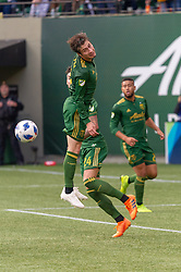 November 4, 2018 - Portland, OR, U.S. - PORTLAND, OR - NOVEMBER 04: Portland Timbers defender Jorge Vilafaña clears a cross in defense during the Portland Timbers first leg of the MLS Western Conference Semifinals against the Seattle Sounders on November 04, 2018, at Providence Park in Portland, OR. (Photo by Diego Diaz/Icon Sportswire) (Credit Image: © Diego Diaz/Icon SMI via ZUMA Press)