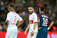 Toulouse Football Club's French forward Andy Delort talks to Paris Saint-Germain's Brazilian forward Neymar Jr during the French championship L1 football match between Paris Saint-Germain (PSG) and Toulouse, on August 20, 2017, at the Parc des Princes, in Paris, France - Photo Benjamin Cremel / ProSportsImages / DPPI