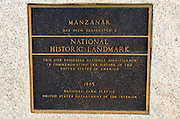 Landmark plaque at Manzanar National Historic Site, Lone Pine, California USA