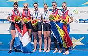 Poznan. Poland. Women's Pair Medals left to right NED W2-, GBR M2-, Heather STANNING and Helen GLOVER, ROM W2-. Finals day at the FISA 2015 European Rowing Championships. Venue Lake Malta. 31.05.2015. [Mandatory Credit: Peter Spurrier/Intersport-images] .   Empacher.