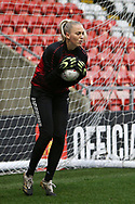 Portrait full length Manchester City goalkeeper Karen Bardsley (1) warming up during the FA Women's Super League match between Manchester United Women and Manchester City Women at Leigh Sports Village, Leigh, United Kingdom on 14 November 2020.