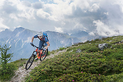 Mountain biker riding on uphill in alpine landscape, Trentino-Alto Adige, Italy