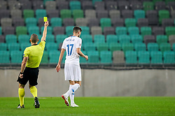 Referee Mads-Kristoffer Kristoffersen and Miha Mevlja of Slovenia during football match between National Teams of Slovenia and Cyprus in Final Tournament of UEFA Nations League 2019, on October 16, 2018 in SRC Stozice, Ljubljana, Slovenia. Photo by  Morgan Kristan / Sportida