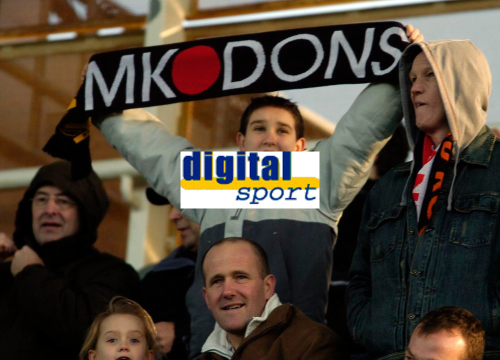 Photo: Leigh Quinnell.<br /> Milton Keynes Dons v Barnet. Coca Cola League 2. 20/01/2007. A young MK Dons fan gets behind his side.