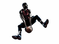 one african man basketball player jumping in silhouette isolated white background