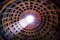 """""""2000 year old Pantheon eye of Santa Maria""""...<br /> <br /> The ancient Pantheon is still the world's largest unreinforced concrete dome.  Both the height and the diameter of the dome is exactly 142 feet.  The Romans were so far ahead of their time...just imagine the possibilities if the empire had survived. The Pantheon is now an active Catholic church known as Santa Maria Rotonda.  The ancient tradition of dropping rose petals from the open oculus happens at noon every Pentecostal Sunday during Mass.  The rose petals symbolize the descent of the Holy Spirit falling on the apostles and the faithful, and it dates back as early as 600 years after the birth of Christ.  Vigili del Fuoco (firefighters) of Rome, climb on top of the Pantheon's dome, and drop thousands of rose petals as the choir chants the sequence of Veni Sancte Spiritus."""