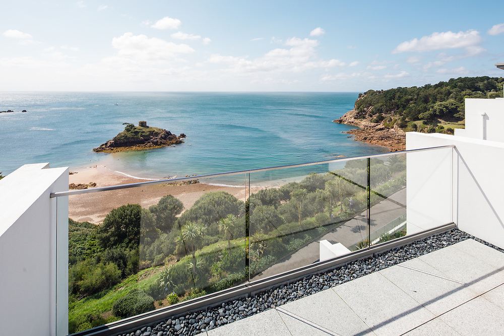 Seaview from an apartment of the beautiful cove, Portelet, a popular beach with tourists in Jersey, Channel Islands