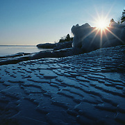 Stoney Point of North Shore on Lake Superior encased in ice during winter in Minnesota.
