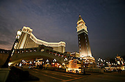 The Venetian casino and its replicas of Venice's Rialto bridge and campanile stand in Macau, China, on February 21, 2008. The Venetian Macao-Resort-Hotel is a 163,000 square foot casino featuring 405 slots and 277 table games. Macao has overtaken Las Vegas with a gambling revenue of 7 billion U.S. dollars in 2006 (Las Vegas' was 6.6 billion U.S. dollars), and is now the world's top casino hut. Photo by Lucas Schifres/Pictobank