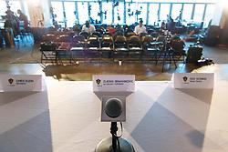 March 30, 2018 - Los Angeles, CA, USA - 180330 En namnskylt och mikrofon pÅ' den plats dÅr Zlatan Ibrahimovic ska hÅ'lla en presskonferens med MLS-laget LA Galaxy den 30 mars 2018 i Los Angeles  (Credit Image: © Joel Marklund/Bildbyran via ZUMA Press)