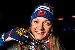February 22, 2019 - Seefeld In Tirol, AUSTRIA - 190222 Gold medalist Maiken Caspersen Falla of Norway poses for a picture with her medal after the medal ceremony for women´s cross-country skiing sprint during the FIS Nordic World Ski Championships on February 22, 2019 in Seefeld in Tirol..Photo: Joel Marklund / BILDBYRÃ…N / kod JM / 87883 (Credit Image: © Joel Marklund/Bildbyran via ZUMA Press)