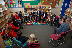 Pictured: <br />Climate Change Secretary Roseanna Cunningham visited Abbeyhill Primary School today to discuss with schoolchildren the role Scotland can play in safeguarding the planet as she responds to UK Climate Change Committee recommendations.  She was joined by Professor Keithn Bell, UK Climate Change Committee Scottish Champion as she answered questions from students aged between 7 and 11.   Ger Harley | EEm 2 May 2019