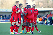 Crawley Town players celebrate a goal fro, Crawley Town midfielder Enzio Boldewijn (7) (score 3-0)  during the EFL Sky Bet League 2 match between Crawley Town and Leyton Orient at the Checkatrade.com Stadium, Crawley, England on 25 March 2017. Photo by Andy Walter.
