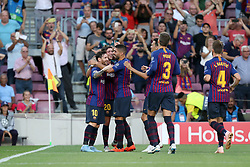 September 18, 2018 - Barcelona, Catalonia, Spain - Lionel Messi of FC Barcelona celebrates with Sergi Roberto and Luis Suarez after scoring his side's opening goal during the UEFA Champions League, Group B football match between FC Barcelona and PSV Eindhoven on September 18, 2018 at Camp Nou stadium in Barcelona, Spain (Credit Image: © Manuel Blondeau via ZUMA Wire)