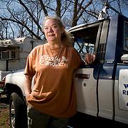 Mimi outside her home at the Shady Grove RV Park in Austin, Texas a few weeks before it was to be moved due to condo development on the land where she had lived for the past 15 years.