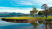 The spectacular 10th green surround by Lough Lein on the Killeen Course  at Killarney Golf and Fishing Club in County Kerry, Ireland.<br /> Picture by Don MacMonagle