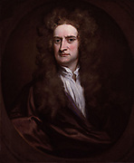 Portrait of Sir Isaac Newton, English physicist, mathematician, astronomer, philosopher by Sir Godfrey Kneller (English school) 1702. Newton's (1643-1727) discoveries were prolific and exerted a huge influence on science and thought. His theories of gravity and his three laws of motion were outlined in his greatest work, Philosophiae Naturalis Principia Mathematica, (1687) and he is credited with discovering differential calculus. He also formulated theories regarding optics and the nature of light that led to him building the first reflecting telescope. Knighted by Queen Anne in 1705, Newton is buried in Westminster Abbey, London.
