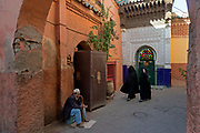 The ancient medinah of Marrakesh comprises a labyrinthine network of narrow alleyways and streets, painted ochre and terracotta and filled with crowded bazars and traders shops.